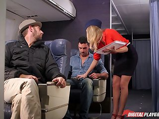Dirty flight attendant Alexis Adams fucking on the plane