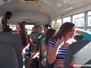 Babe on the bus sucks dick and fucks in front of the crowd