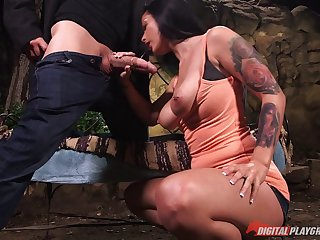 Tattooed and slutty Katrina Jade gets busy with a big dick guy