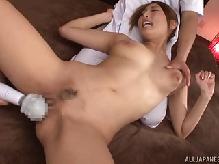 Toys and dicks delight the hot Japanese babe with great tits