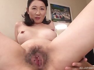 Wet Japanese housewife pussy filled with a throbbing cock