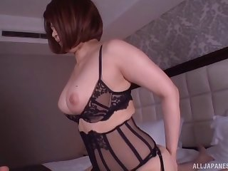 Lingerie is perfection on the curvy Japanese hardcore babe