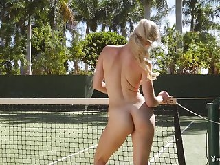 Blonde tennis hottie strips on the court and flaunts her pussy