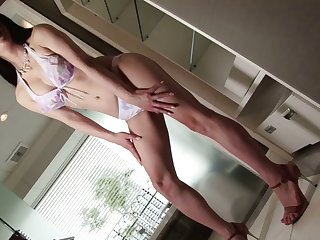 Stunning Asian shemale model takes off her lingeire