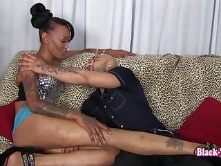 Tight black tranny asshole fucked by a big dick