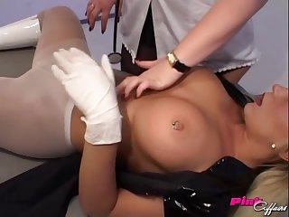 Two sexy, naughty nurses get naked and eat pussy in an exam room