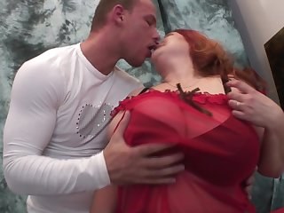Sheer panties and stockings on the horny hardcore mature redhead