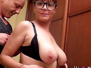 Geeky brunette Dona Carmen gets friksy with a big cock