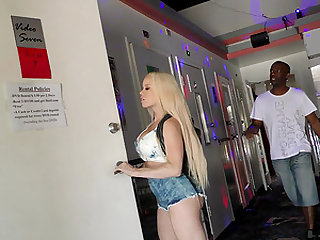 Busty blonde chick Nikki Delano is excited about a black dick