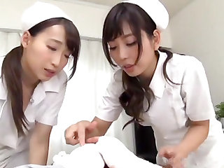 Couple of Japanese nurses know how to make a dick stiff