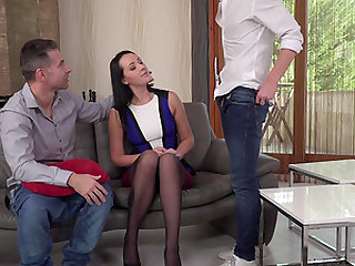 Carolina June seduced by a couple of nasty stallions