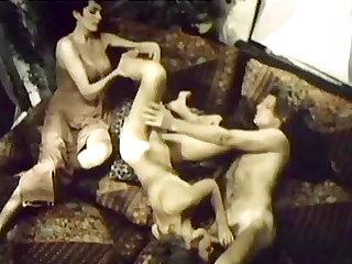 Magnificent retro FFM threeway with cum-craving babes