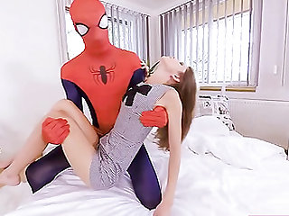 Spider-man heroically rescued the girl, and she thanks him by a passionate sex