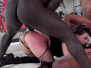 Gorgeous Henessy cannot resist three massive black cocks