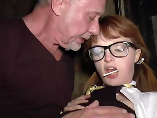 Old guy Ben Dover gets rough with a geeky redhead teen in glasses