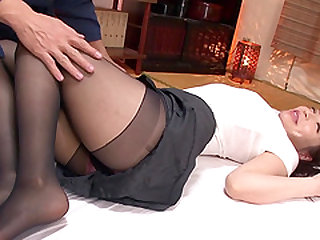 Aya Sakurai is a babe in black tights who wants to feel a big dick