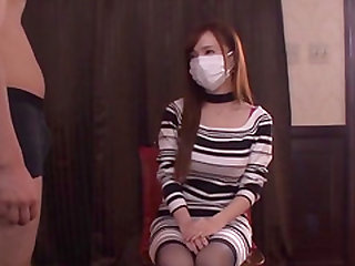 Sumire Mika takes off her mask to suck on a fellow's cock