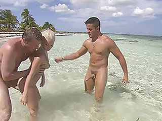 Awesome beach threesome with insatiable blonde Katrin Wolf