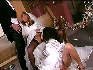 Felicia Fox and a hot chick fuck a guy during a wedding party