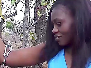 Hot chocolade african skinny babe enjoys her first extreme fetish sex at our safari sex trip