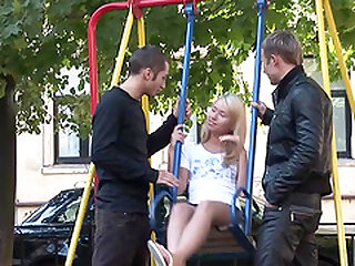 Russian teen picked up by two stranger for some explicit fun