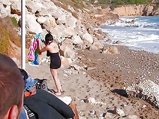 Fair-skinned brunette angel explores her exhibitionist side