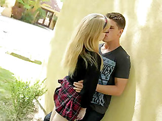Picking up a blonde nerdy chick in a flannel skirt for a fuck