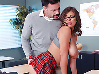 Busty schoolgirl Ella Knox bends over for a big dick