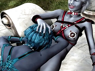 Fantasy lesbian sex in a temple