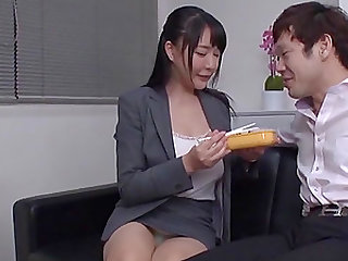 Secretary from Japan lifts up her skirt and humps a stiff dong