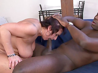 Huge-titted grandma likes it rough with a wild black fucker