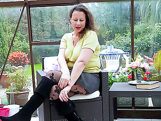 Hot old european grandma solo huge boobs showoff and pussy toying