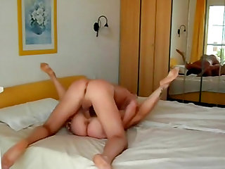Horny blonde having her morning fuck with her guy.