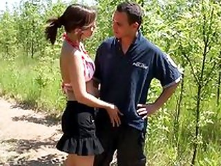 Outdoor sex with a busty beauty in love with cock