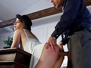 Tight blonde bends ass for daddy