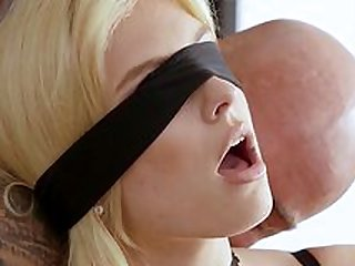 Blind folded Giselle Palmer plays kinky with the cock