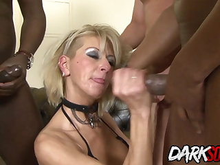 MILF Cathy Inez takes black cock in her ass and cum on her face