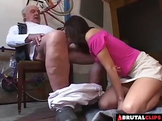 She is absolutely ready to sit down on the old guy's erected dick!