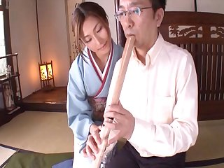Pleasurable senorita from Japan sucks and rides with the grand joy