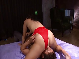 Red leotard babe lubed up and fucked with lusty passion