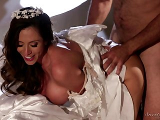 Milf in a pretty wedding dress fucked by his fat dick