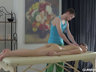 Long and sensual massage slowly prepares her pussy for some dicking