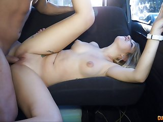 Thick cumshot on the back of a perky tits blonde in the van