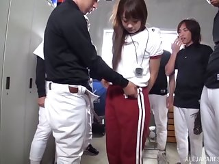 Japanese baseball players gangbang a sexy girl