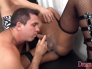 Big Booty Tranny Melany Vilhena Gets Furiously Rammed by Two Hard Cocks