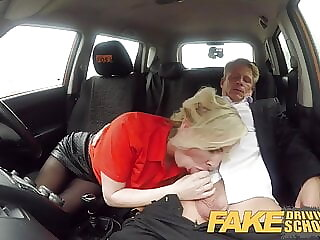Fake Driving School Mature guy spunks over blonde bombshell