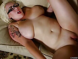Beautiful BBW in glasses loves cum over her nice big tits
