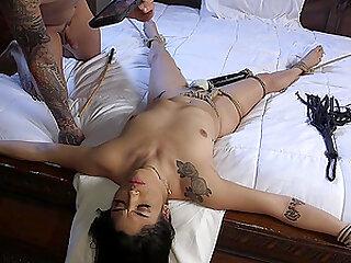 Latina bombshell babe Vanessa Sky ball gagged, tied up and abused