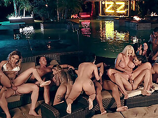 Hardcore pornstar poolside orgy with Karma RX and slutty babes