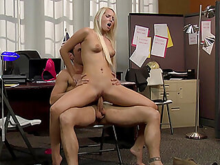 Blonde hottie Vanessa Cage rides and sucks dick in the office